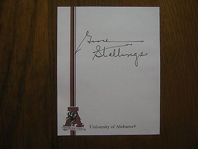 GENE  STALLINGS  Signed  University of  Alabama  Crimson  Tide 6 x 7  Sheet/Page