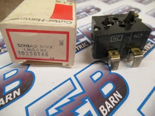 Cutler Hammer 10250T40, Series A4, Contact Block, 1 N.O. - 1 N.C. - NEW-B