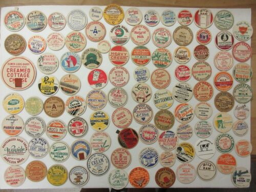 100 = OLD MILK BOTTLE CAPS=NICE SELECTION=MANY DIFFERENT DAIRIES