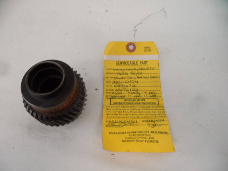 Rolls Royce 250-C47M 6893672 Helicopter Engine Power Train Helical Pinion Gear