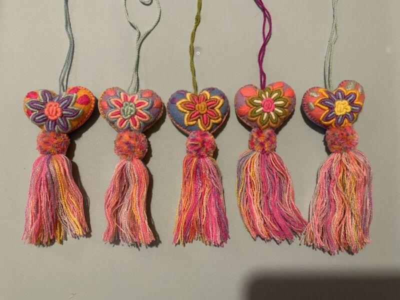 Mexican Embroidered Handmade Keychain Tassel Pom Pom Heart