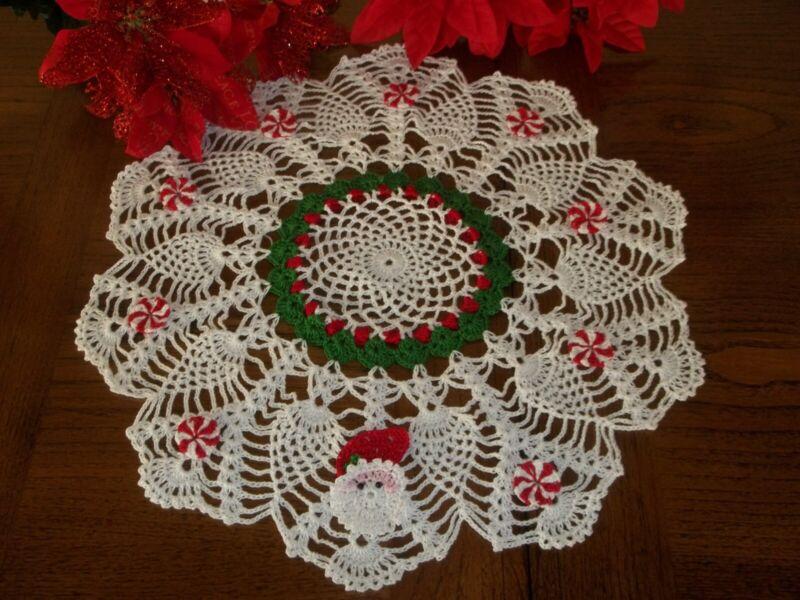 """Hand Crochet Christmas Holly Wreath Doily Santa Peppermint Candy 13"""""""