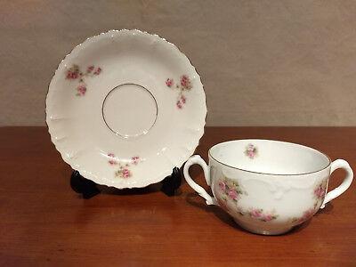 MZ Austria Hand Painted ROSES Porcelain 2 Handled BOULLION CUP SAUCER Coffee Set