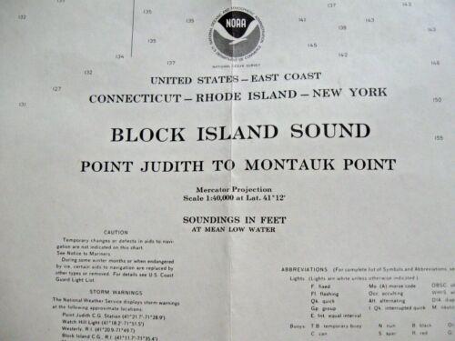NAVIGATIONAL MAP CHART - BLOCK ISLAND SOUND - POINT JUDITH TO MONTAUK POINT