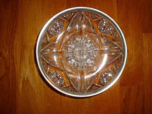 CUT CRYSTAL GLASS  DIVIDED BOWL with STERLING SILVER RIM