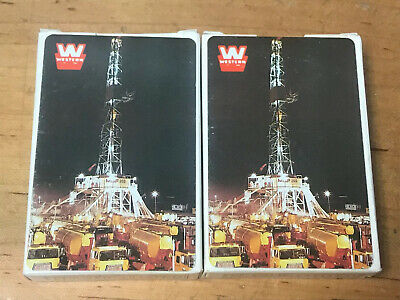 2- Westen Oil Field Truck's Playing Cards Vintage Plastic -