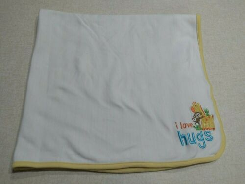 Just One You Carters Baby Blanket White Colorful Stripes I Love Hugs