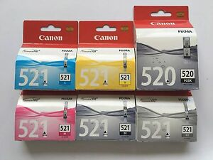 Genuine Original Canon Ink PGI 520BK CLI-521 C M Y BK GY 6 Ink Cartridges Pack
