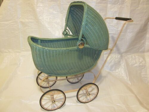Lloyd Loom Products Wicker Doll Buggy Carriage Stroller ~ VINTAGE ~ FANTASTIC