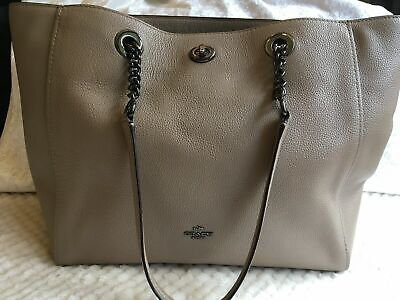 New Without Tags Authentic Coach Tote Bag Beige Taupe