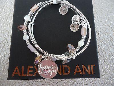 Alex And Ani Because I Love You Set Of 3 Bracelets Shiny Silver W  Tag Card Box