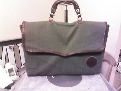 Vintage Duluth Pack Olive Green Canvas/ Leather Padded Laptop Attache Bag USA