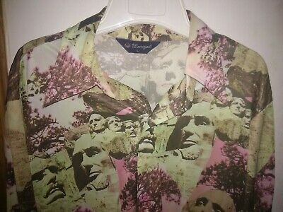 1970s Mens Shirt Styles – Vintage 70s Shirts for Guys RARE Mount Rushmore Men's Vintage 60's Polyester Shirt Size L  All Over Print $69.99 AT vintagedancer.com