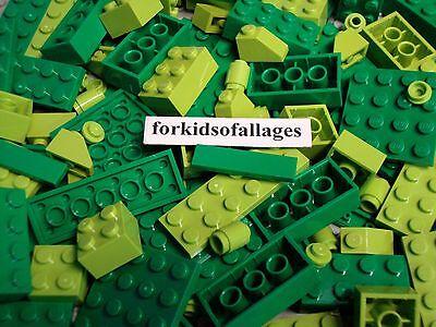 50 Lego Bricks Plates Tiles Green & Lime Bulk Friends Landscape Parts/Pieces Lot