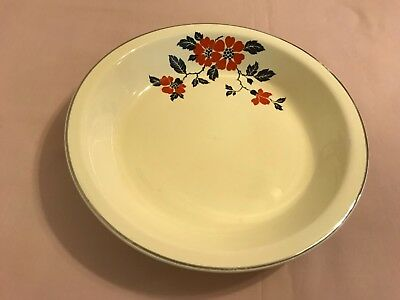 Hall China Red Poppy Pie Baker Dish Plate Vintage China Pie Dish
