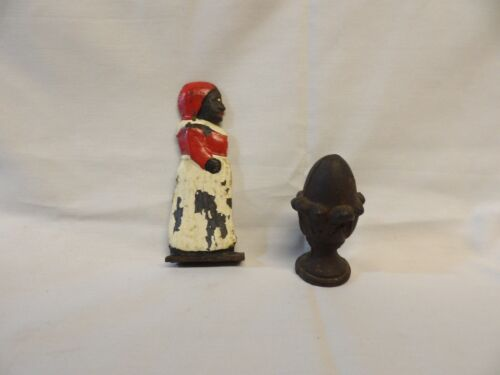 CAST IRON LOT OF 2 PIECES - AUNT AND FINIAL- BLACK CAST IRON