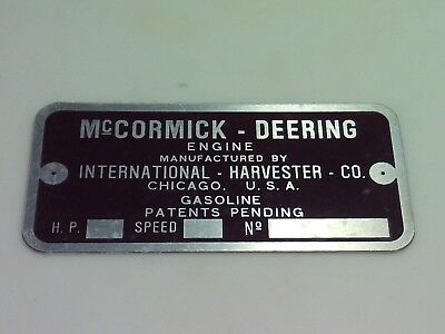 Mccormick Deering Gasoline Type M Engine Name Tag Nameplate