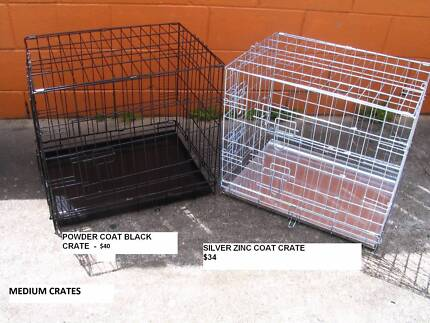 NEW MED Collapsible Metal Dog Puppy Cage Crate with METAL TRAY