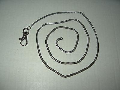 "37"" Long Vintage Silvertone Pocket Watch Snake Chain"