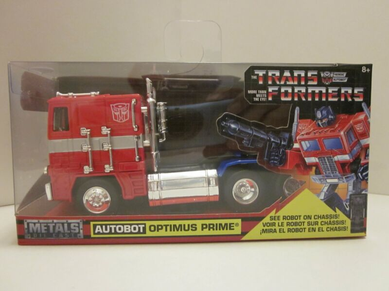 "Hollywood Rides Transformers G1 Optimus Prime PullBack 5.25/"" Diecast Jada Toy RD"