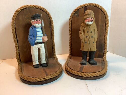 """NAUTICAL BOOKENDS OLD MAN OF THE SEA & SAILOR """"HOLD BOOKS TOGETHER"""" -HAND CARVED"""