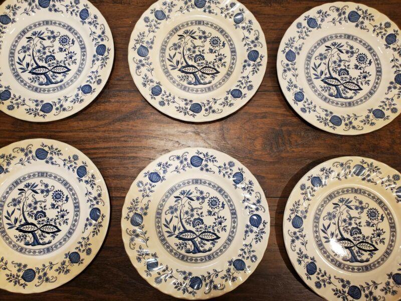 6 Vtg Myott Meakin Blue Onion Dinner Plates