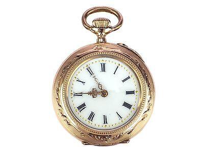 Jugendstil 14 K 585 Gold mechanische Damen Open Face Taschenuhr 30 mm um 1900