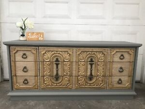 GORGEOUS Rustic Dresser/TV Console with 9 drawers-185$