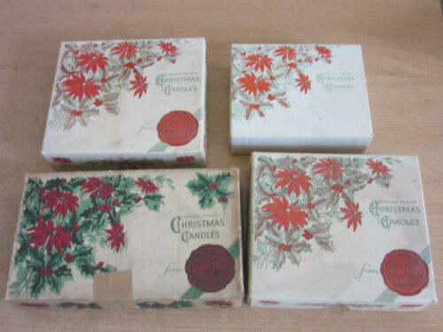 4 boxes Improved Dripless Christmas Candles from Candle shops of Standard Oil Co