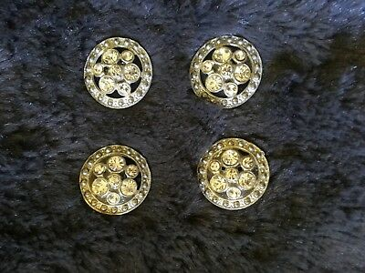 VTG SET OF 4 ROUND RHINESTONE METAL BUTTONS