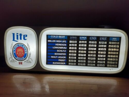 Vintage Beer Sign Electric Miller Lite Brewing company Adjust Prices & Letters