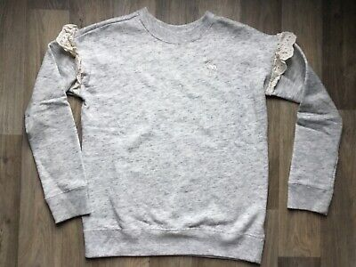 Abercrombie & Fitch Kids sz 9 10 super cute grey Ruffle crewneck Top Sweatshirt