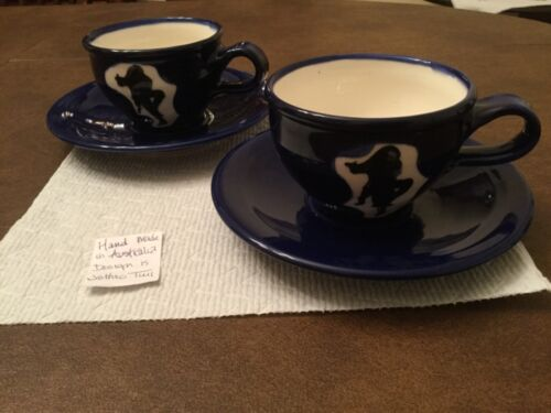 Pair of Hand Made Jethro Tull Design Pottery Cups and Saucers Artist Signed