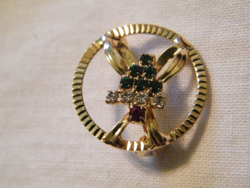 Christmas Brooch Pin Gold Tone Red Green Clear Rhinestones Circle Bow Tree WOW