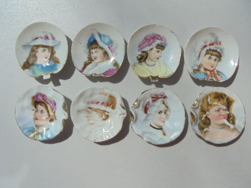 8 Antique Victorian Era China Porcelain Portrait Butter Pats