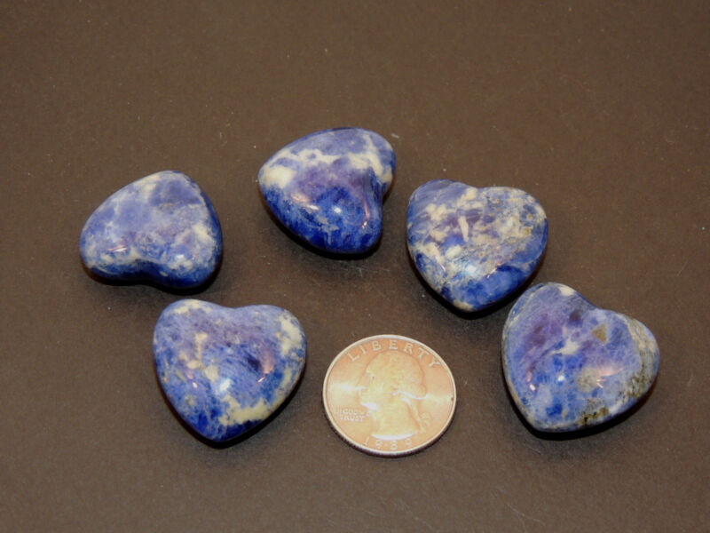 Sodalite Hearts 1 inch wide set of 5  (9063)