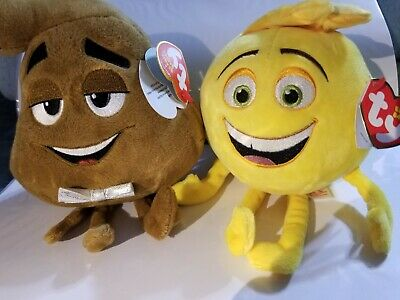TY Poop SR - and GENE Emoji Movie. SET OF 2. NEW