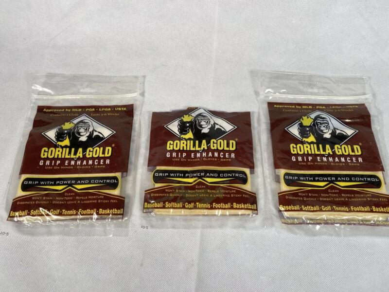 Lot of 3 Gorilla Gold Grip Enhancer Original Reusable All Sport Tackifying Towel