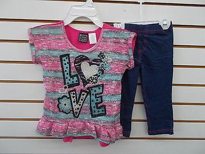 Girls Pogo Club 2Pc Pink   Denim Blue Capri Leggings Set Size 4   6X