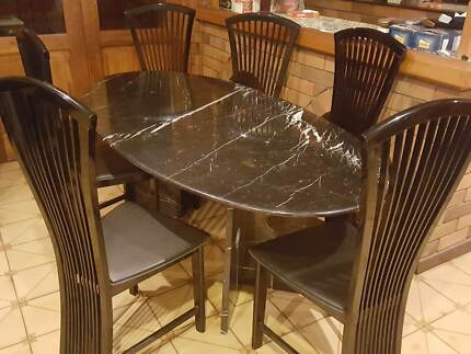 Full Marble Italian Dining Table With 6 Seats
