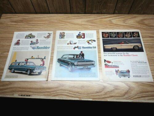 3 1964 Rambler 770 Wagon 440-H American Hardtop 1965 770 Classic Print Ads