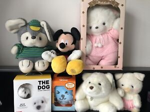 7 Stuff toys lot - Mickey, Gund, bear, mouse, pig, dog