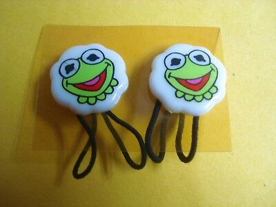 Vtg 80s MUPPET BABIES Hair Accessory Set 2pc HAIR TIES Bands NOS *Kermit* - Muppets Accessories