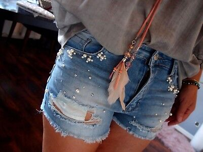 Perlen Baumwolle Shorts (Kurze Hose XS S M Neu Jeans Short Perlen Hotpants Blogger Boyfriend Vintage 34 L)