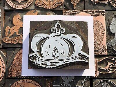 Large Antique Vtg Jeweled Royal Crown Letterpress Print Type Cut Ornament Block