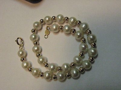 "14k 585 Yellow Gold Jewelry Pearl and gold bead Bracelet 4.6 grams 7"" inch C1 KT"