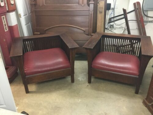 2 Art & Crafts Stickley Signed Wood Arm Large Club Chairs