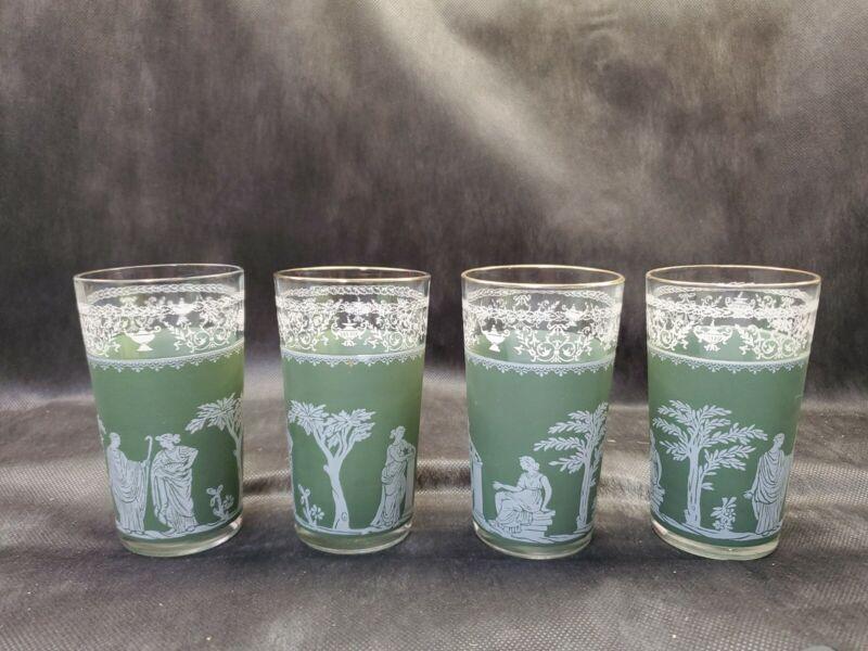 Wedgwood Jasperware Green/Sage 4- 10 oz. Gold Rim Glasses Greek Hellenic Used