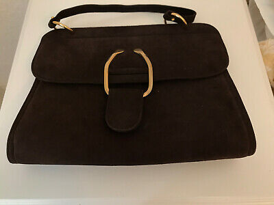 Vintage Dark Brown Suede Handbag