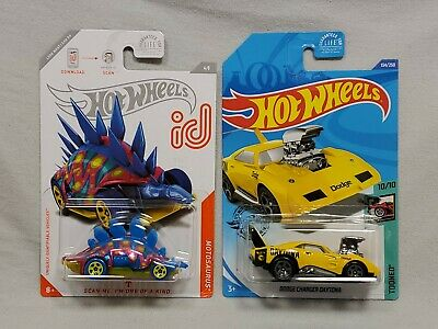 X2 2020 HOT WHEELS MOTOSAURUS ID & DODGE CHARGER DAYTONA TREASURE HUNT LOT